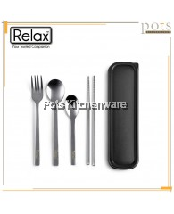 RELAX 4pcs Travelling Stainless Steel Portable Cutlery Set [Spoon + Fork + Teaspoon + Chopstick] - F0022