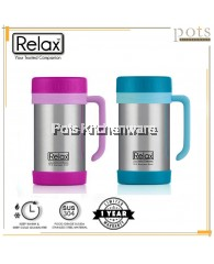 Relax 500ml Stainless Steel 18.8/SUS304 Keep Warm Thermal Office Mug (Cyan/Pink) - D1144CP