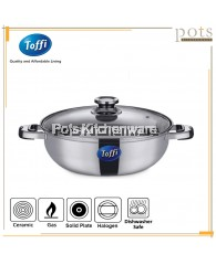 Toffi Stainless Steel Steamboat Pot with Glass/Steel Lid with/without Divider - B2800