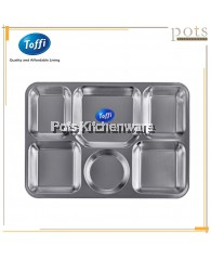 Toffi 6 Compartments Stainless Steel Fast Food Serving Tray - B6003