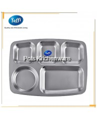Toffi 5 Compartments Stainless Steel Fast Food Serving Tray - B6007