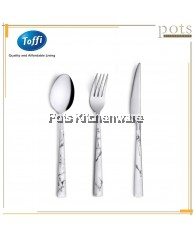 3pcs Toffi Stainless Steel Cutlery Pack (Spoon/Fork/Steak Knife) - Marble White
