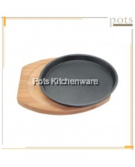 Cast Iron Round Hot Plate with Wooden Serving Board (19cm/21cm/26cm/28cm)- IR31
