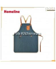 Homeline Stylish Three Pocket Full Length Barista Denim Apron-L0323