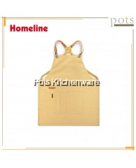 Homeline Stylish Dual Pocket Full Length Beige Cotton Canvas Bib Apron-L0380