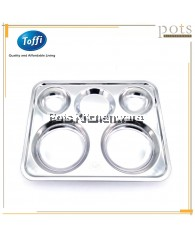 Toffi High Quality Stainless Steel 5-Compartment Divided Food Tray - B6140