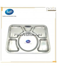 Toffi 6 Compartments Stainless Steel Fast Food Serving Tray - B6005