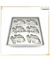 Aluminium 6 Holes Fish Shape Cake Mould Acuan Kuih Ikan - SSB46