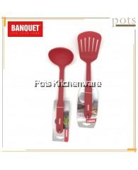 Banquet High Quality Red Culinaria Heat-Resistant Ladle and Turner Set - BQXAU009R0104