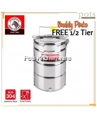 Zebra Stainless Steel SUS304 14cm 3.5 Tier Buddy Pinto Tiffin Carrier Food Container - Z150151