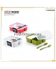 Elianware 3 Compartment BPA Free Bento Lunch Box with Cutlery - E1229