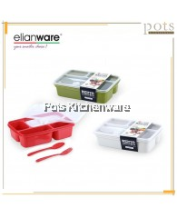 Elianware 4 Compartment BPA Free Bento Lunch Box with Cutlery - E1230