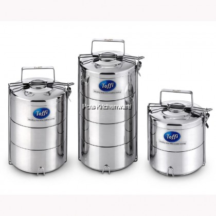 Toffi High Qualilty Stainless Steel 14cm Double Wall Anti Scald Multi Level Tiffin Carrier Food Container - H2142M