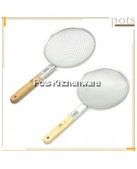 E-Central Large Size Stainless Steel Mesh Skimmer Strainer Drainer with Wooden Handle (28cm) - HL9100