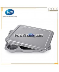 Toffi Stainless Steel 304 5-Compartment Divided Food Tray / Food Tray Lid / Set - B6000