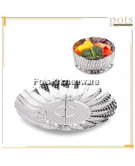 Stainless Steel Adjustable Foldable Flower Steamer Basket Fit Various Size Cooker with Ring Handle - YX923A