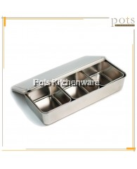 3 Compartment Japanese Condiment Spices Holder Dispenser Seasoning Box Container with Lid - CHJ3