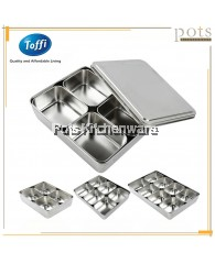 Toffi Stainless Steel Compartment Condiment Spices Holder Dispenser Seasoning Box Container with Cover (4 Compartment/6 Compartment/8 Compartment) - K4370