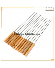 12pcs Wooden Handle Barbecue Skewers BBQ Stick (14inch / 36cm) - LTBBQ12