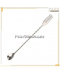 3pcs Stainless Steel Cocktail Long Bar Mixing Spoon with Fork (26cm / 32cm) - 0104408511/GD388719A