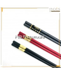 10 Pairs Chinese-Style Gold Prosperity Blossom Melamine Alloy Chopsticks (Red/Black) - 0206201/QQ907G