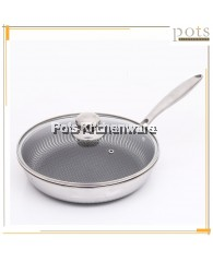 Stainless Steel 316 18/10 Non Sticks Double-Sided Honeycomb Frying Pan with Glass Lid (28cm) - C7428