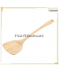 Natural Wood Non-Coated Wooden Rice Ladle Flat Turner Spatula Frying Spoon - GD34GD39cm