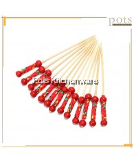 100PCS Fruit Appetizer Drink Pick Sticks Disposable Bamboo Skewer with Single Double Ball Bead Red Pearl (12cm) - BSD46/SBS46
