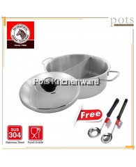 FREE GIFT Zebra Stainless Steel SUS 304 Divider Shabu Pot Steamboat Pot with S/S Lid (30cm) - ZR14263700