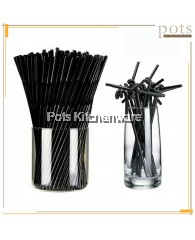 160 Pcs Disposable Black Flexible Long Joint Bending Shape Drinking Straw - PL444