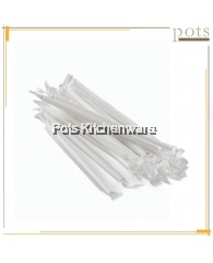 100PCS 20CM Disposable White Paper Straw with Individual Packing Wrap Cover - 030600112W