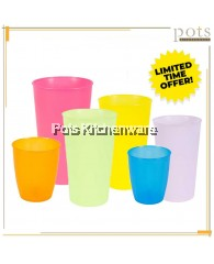 VALUE PACK BPA Free Household Commercial Colorful Plastic Tall Cup Glass (5oz/8oz/10oz/11oz/12oz) - FPG1759/S308-6/S208-6/E312-6/S212-6