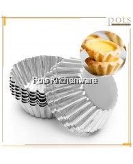 12pcs Aluminum Reusable Washable Thick Lace Edge Round Egg Tart Fruit Tart Mold Cupcake Pastry Mould - SL024M