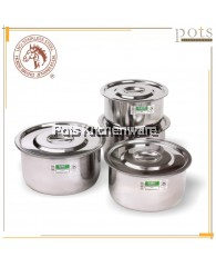Horse Stainless Steel Extra Thick Indian Pan Pot Large Size (24cm/26cm/28cm/30cm) - 5104