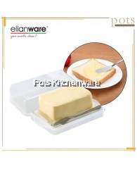 Elianware BPA FREE Plastic Microwavable Transparent Butter Case Container Holder Keeper Dishes FREE Butter Knife - E195