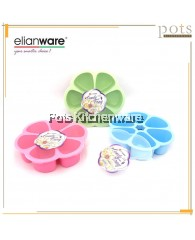 Elianware BPA FREE 1650ML Flower Shape Candy Snack Box Container Tray with Transparent Cover - E939
