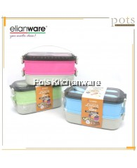 Elianware BPA FREE 2 Layers SUS304 Stainless Steel Lunch Box Food Container Carrier with Cutlery / Handle (1100ML) - E2006