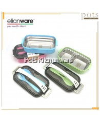 Elianware SUS304 Stainless Steel 1/2 Compartment BPA FREE Lunch Box Food Container with Cutlery / Handle - E2004E2005