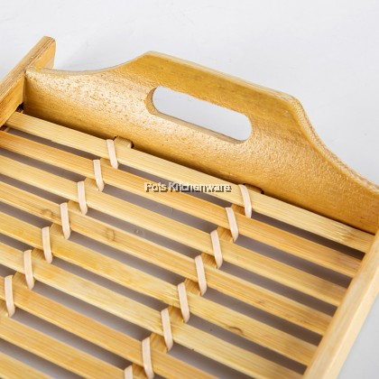 Natural Bamboo Rectangle Wicker Serving Tray Double Side Handle - BB510M