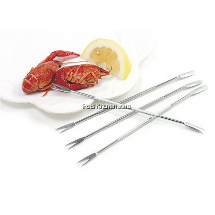 2pcs Stainless Steel Crab Fork Lobster Pick Seafood Fruit Nut Tool Needle with Spoon - JPK14422