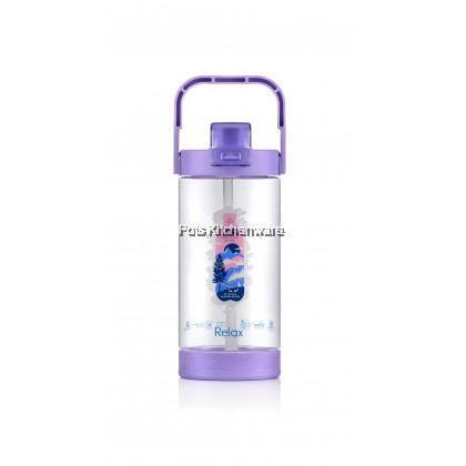 1400ML Relax BPA Free Tritan Water Bottle Tumbler with Straw Carry Handle (Cyan/Purple) - D7214