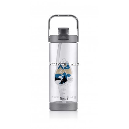 1800ML Relax BPA Free Tritan Water Bottle Tumbler with Straw Carry Handle (Cyan/Blue/Grey) - D7218
