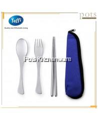 Toffi 3pcs Portable Traveling Utensils Flatware Cutlery Set with Storage Zip Bag - F0033
