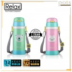 360ml Relax Stainless Steel 18.8 Kids Thermal Flask with Straw with Strap - D2636