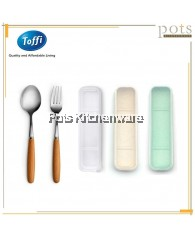 2pc Travelling Flatware Cutlery Spoon Fork Set in Box- F0045