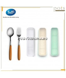 2pc Travelling Flatware Cutlery Spoon Fork Set in Box- F0045