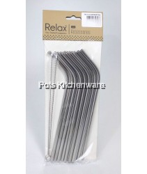 12pcs Reusable Stainless Steel Straw (21.5cm Bend)+2pcs Brush - D2003-91