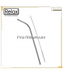 Relax 3pcs/12pcs Reusable Washable Bend Joint Stainless Steel Straw (21.5cm/26.5cm) with Brush Set - D2003D2004