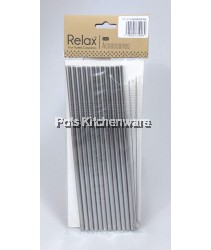 12pcs Reusable Stainless Steel Straw (21.5cm Straight) + 2pcs Brush - D2001-91
