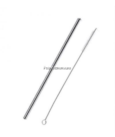 12pcs Reusable Stainless Steel Straw (21.5cm Straight) + 2pcs Brush - D2001-91